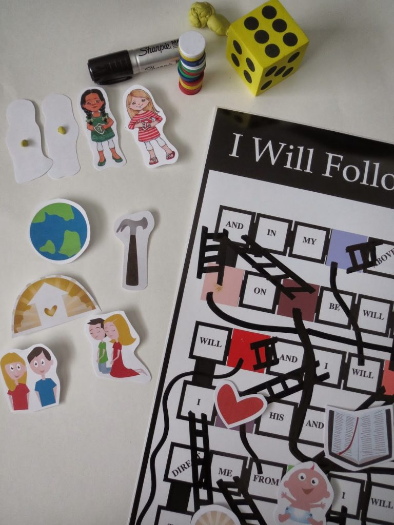 Camille's Primary Ideas: I Will Follow God's Plan Game Board Singing Time Lesson Plan Idea