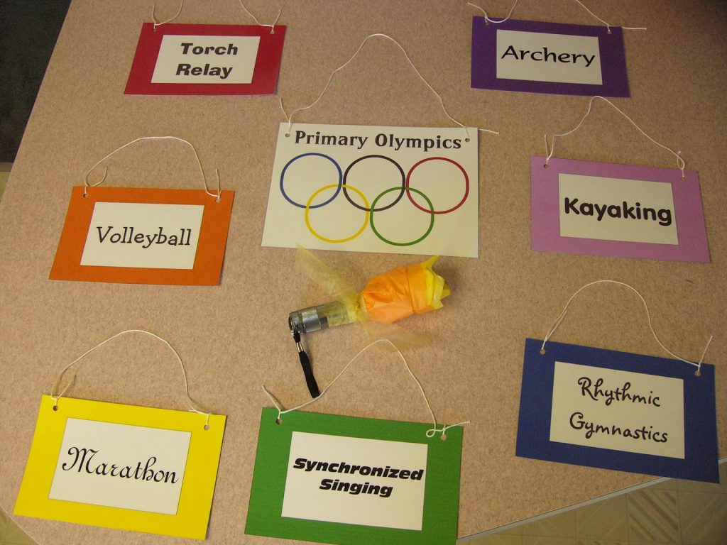 Camille's Primary Ideas: Primary Olympics singing time lesson plan review activity