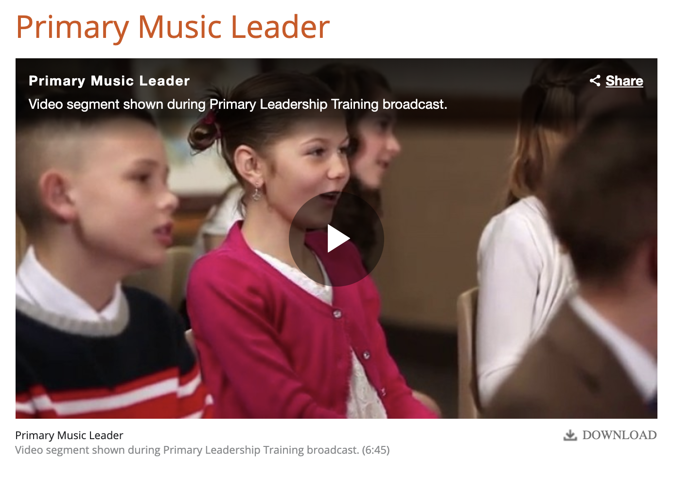 Camille's Primary Ideas: Primary Leadership Training Video