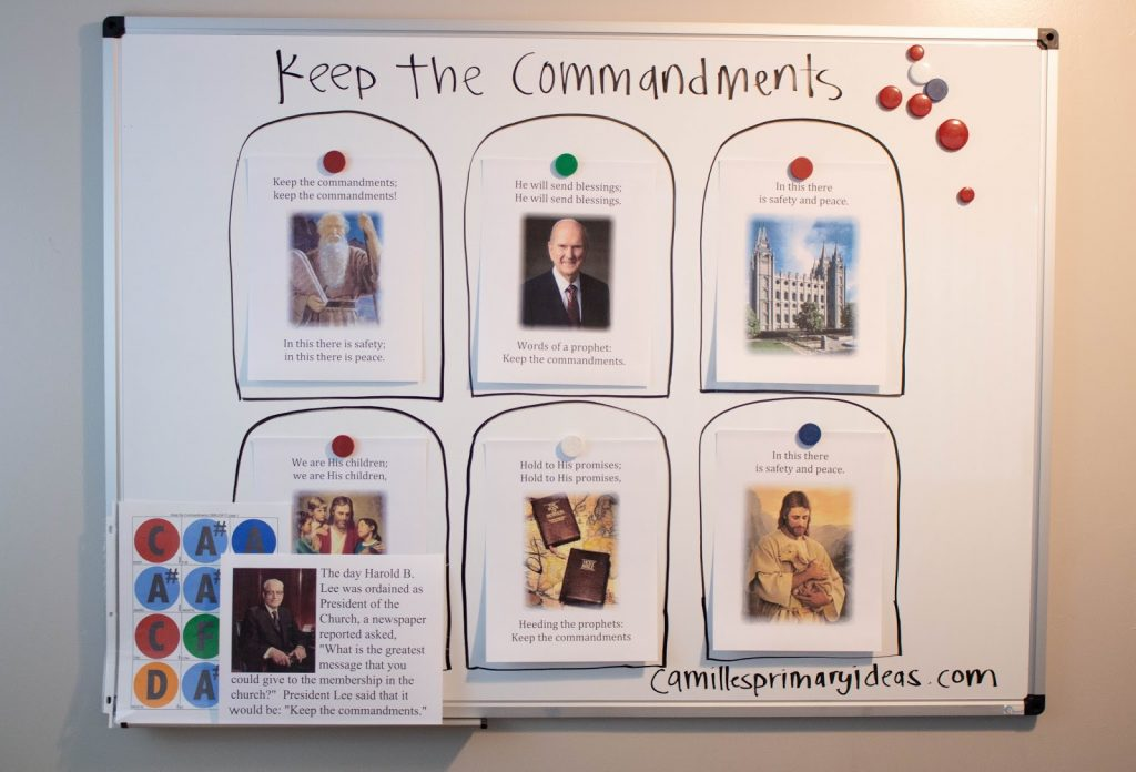 Camille's Primary Ideas Keep the Commandments Singing Time Lesson Plan