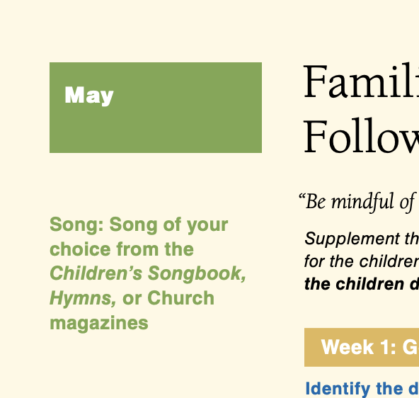May 2014 Song of Your Choice from The Children's Songbook