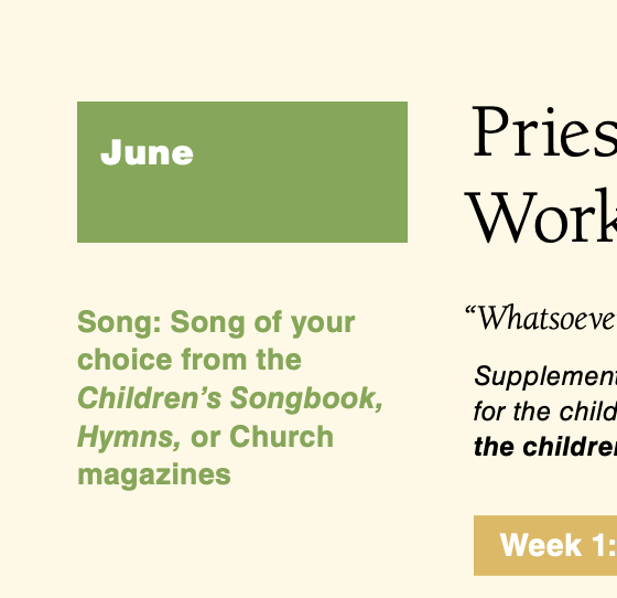 June 2014 Song of Your Choice from The Children's Songbook