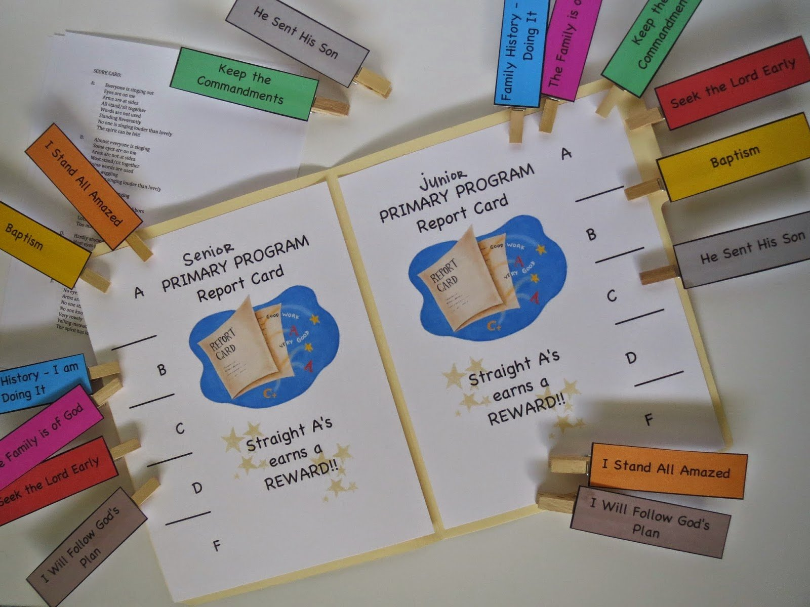 Camille's Primary Ideas: Primary Program Report Card singing time lesson plan review activity