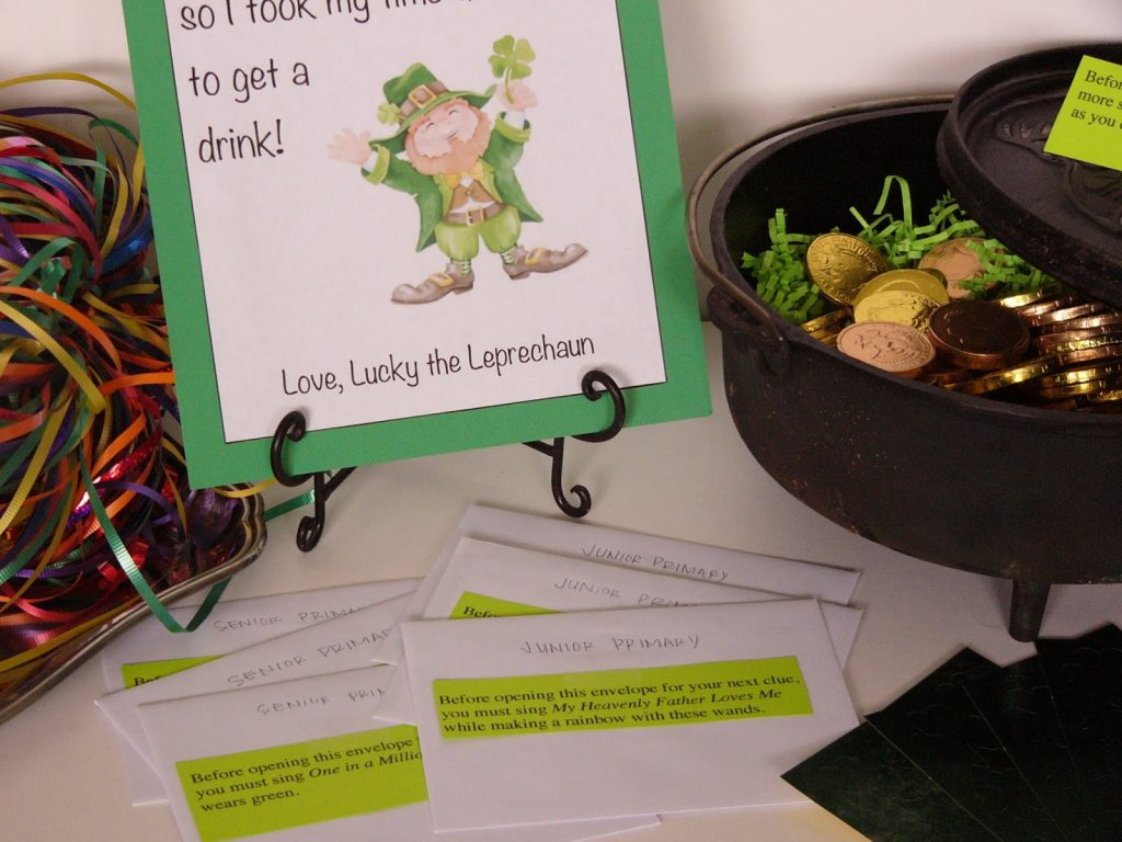 Camille's Primary Ideas: St. Patrick's Day Treasure Hunt Singing Time Lesson Plan Activity Idea