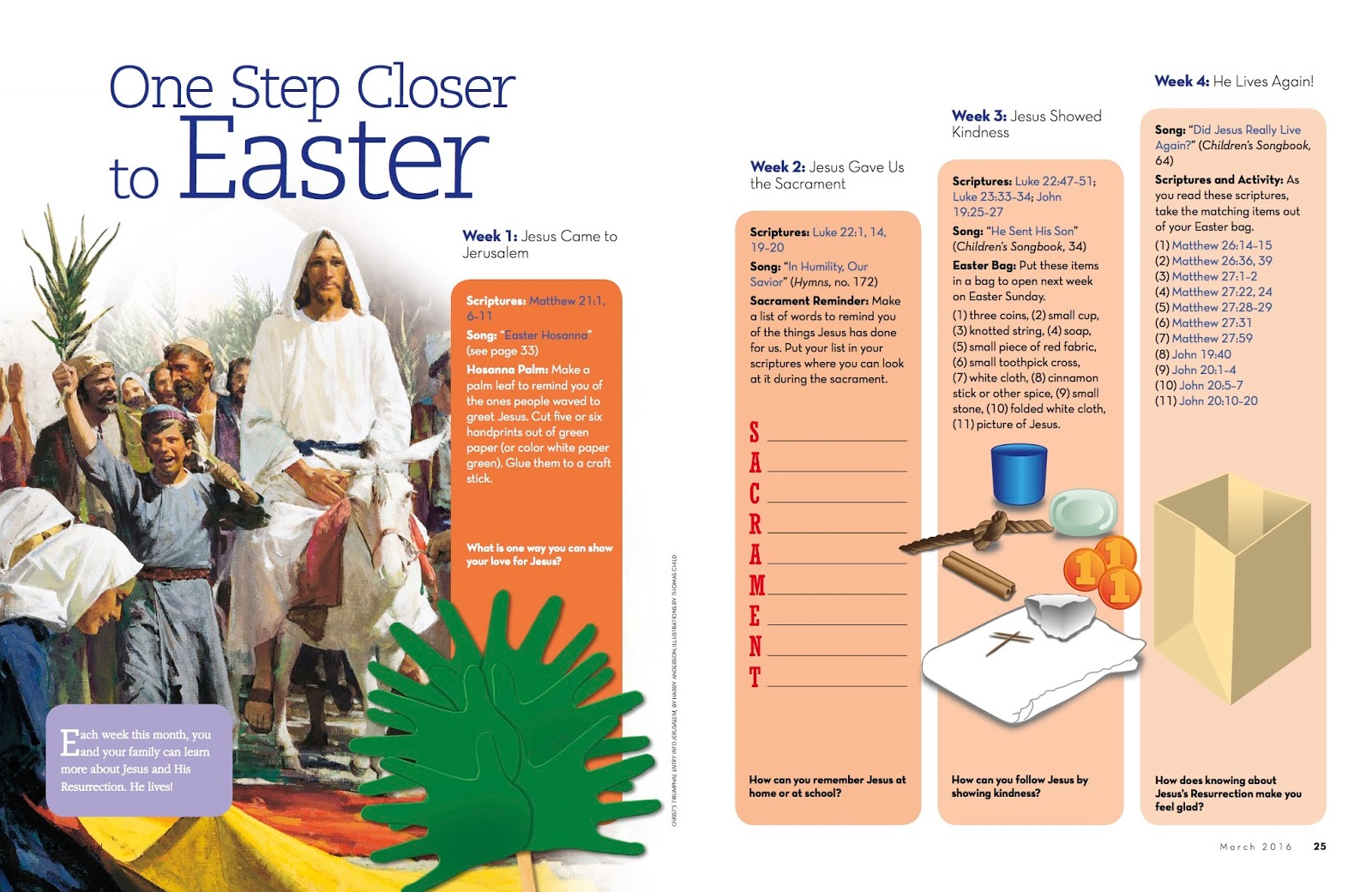Camille's Primary Ideas: One Step Closer to Easter Singing Time Lesson Plan Idea using The Friend