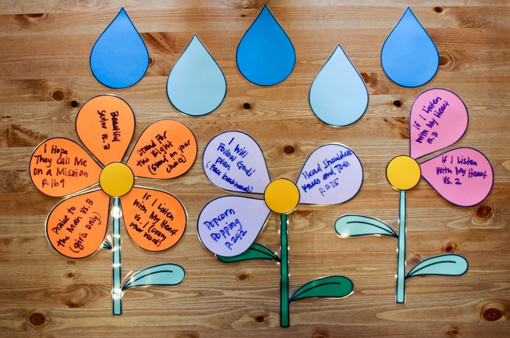 Camille's Primary Ideas: April Showers Bring May Flowers Singing Time Lesson Plan Review Activity