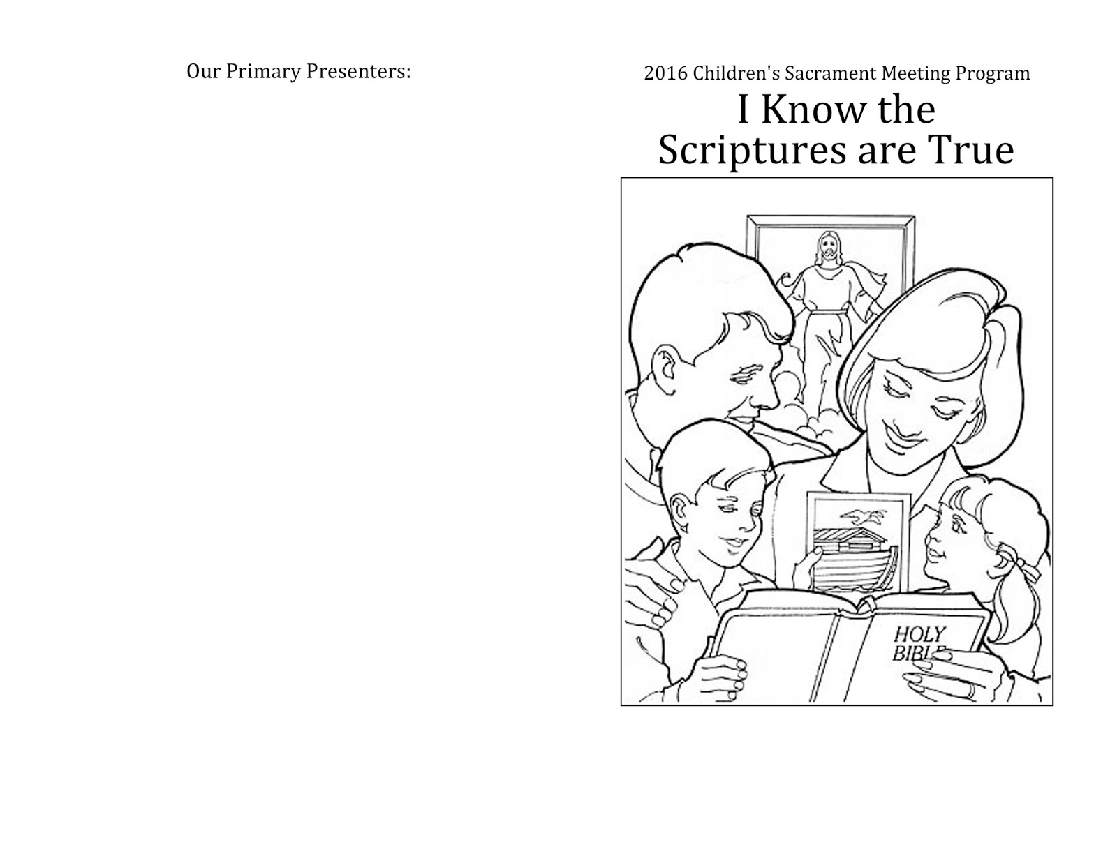 Camille's Primary Ideas: I Know the Scriptures Are True Physical Primary Program