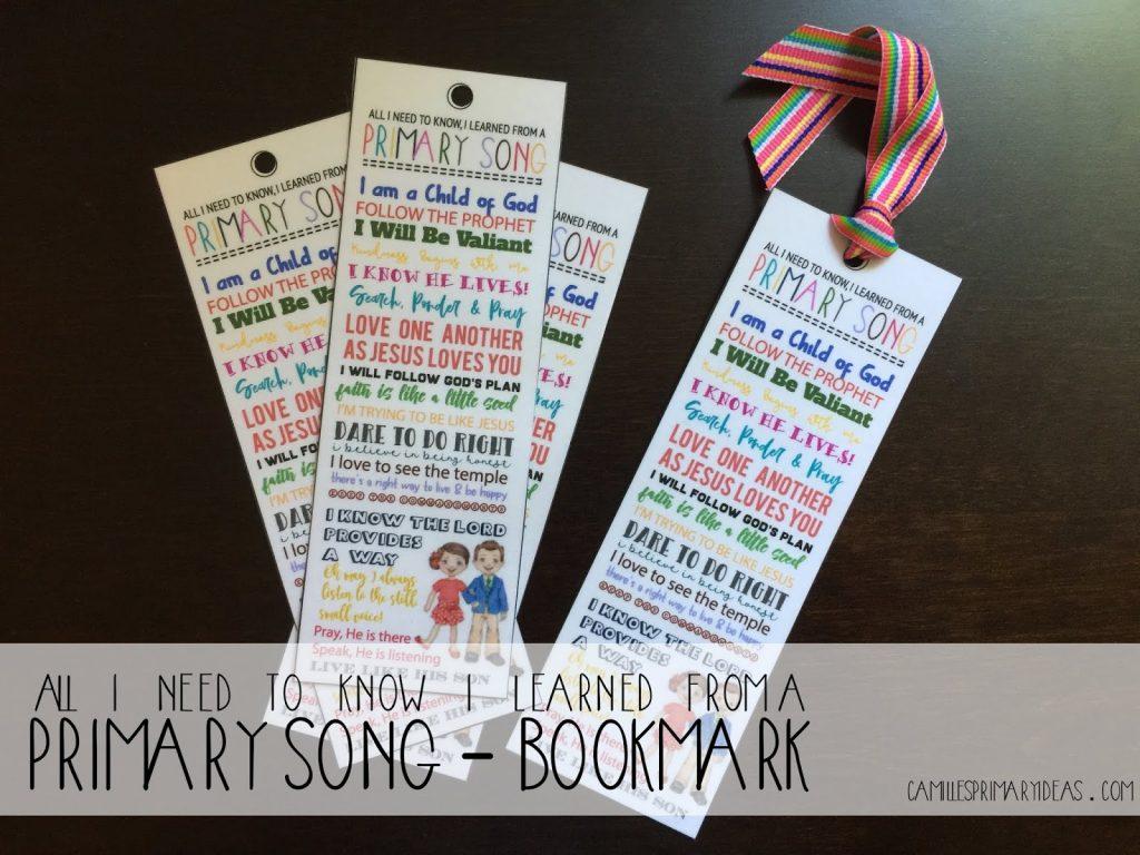 Camille's Primary Ideas: Primary Gift Idea Bookmark