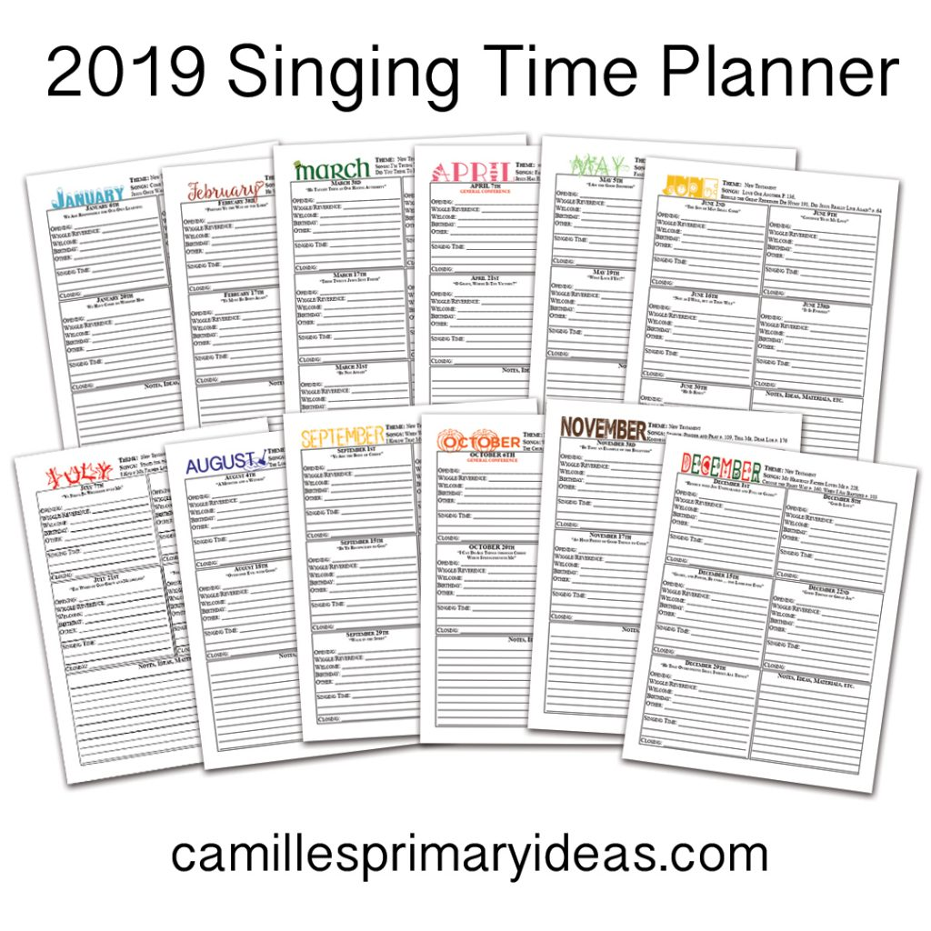 Camille's Primary Ideas Singing Time Planner