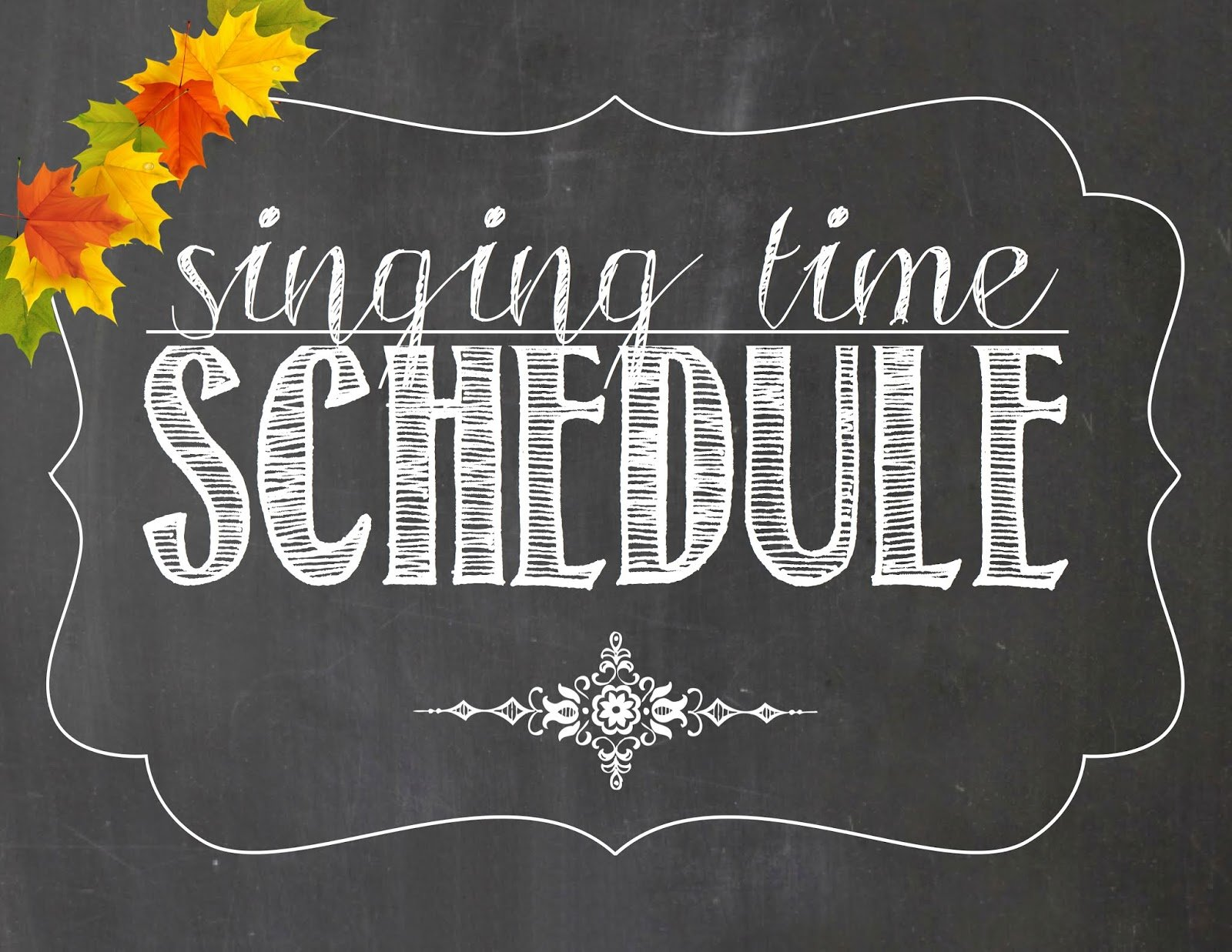 Camille's Primary Ideas: November Singing Time Schedule