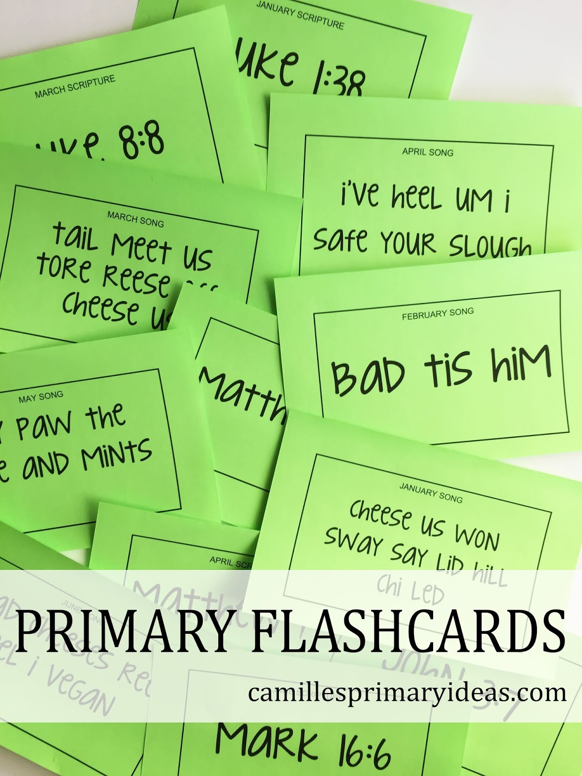 2019 Primary Flash Cards, singing time review idea