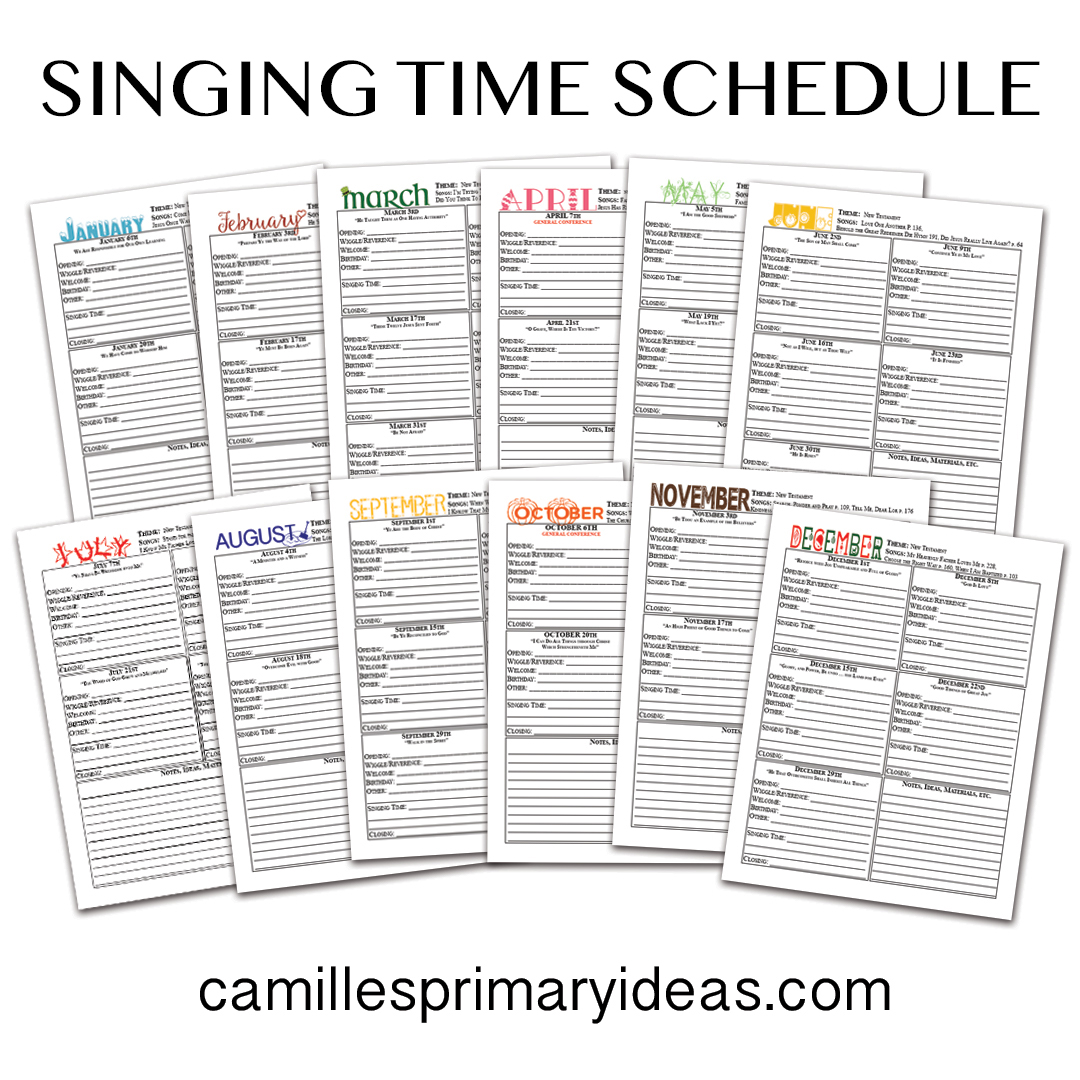 Camille's Primary Ideas: Monthly Singing Time Schedule