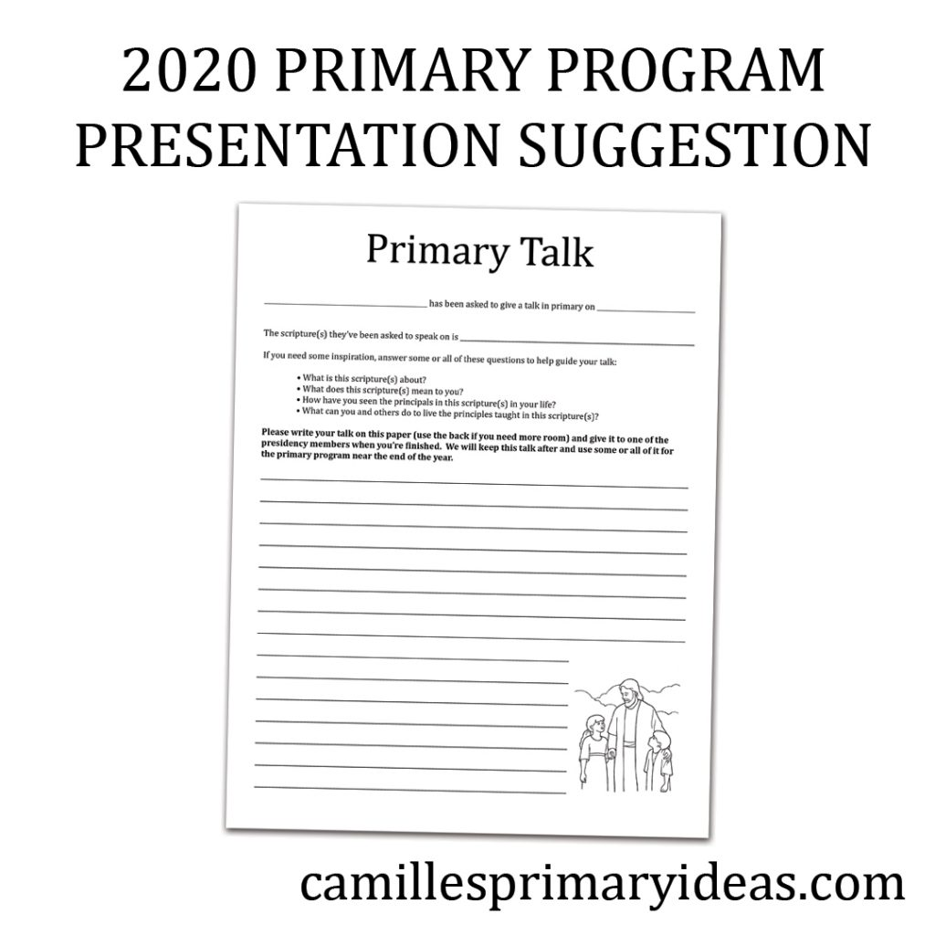 Camille's Primary Ideas: 2020 Primary Program Presentation Suggestion