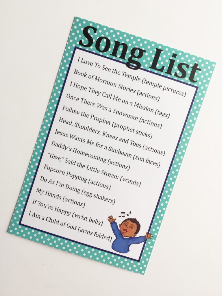 Camille's Primary Ideas: Music Bag Song List