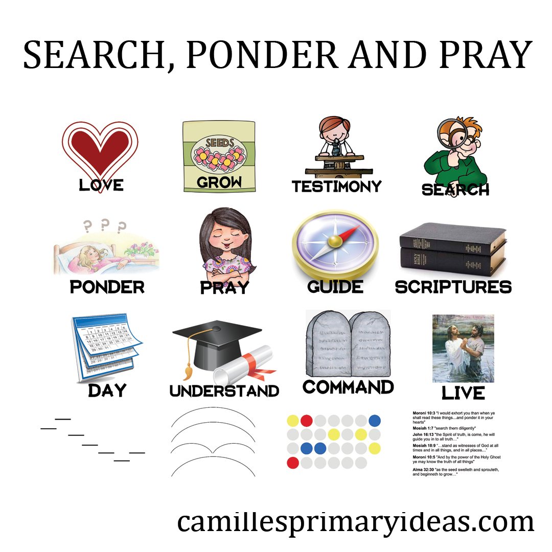 Camille's Primary Ideas Singing Time Lesson Plan for teaching Search, Ponder and Pray