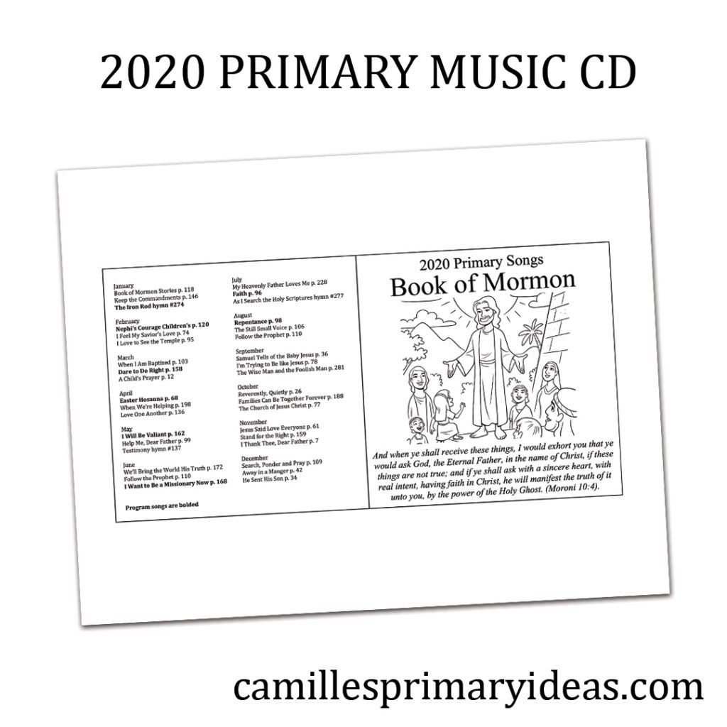 Camille's Primary Ideas: 2020 Primary Songs Book of Mormon CD & Cover