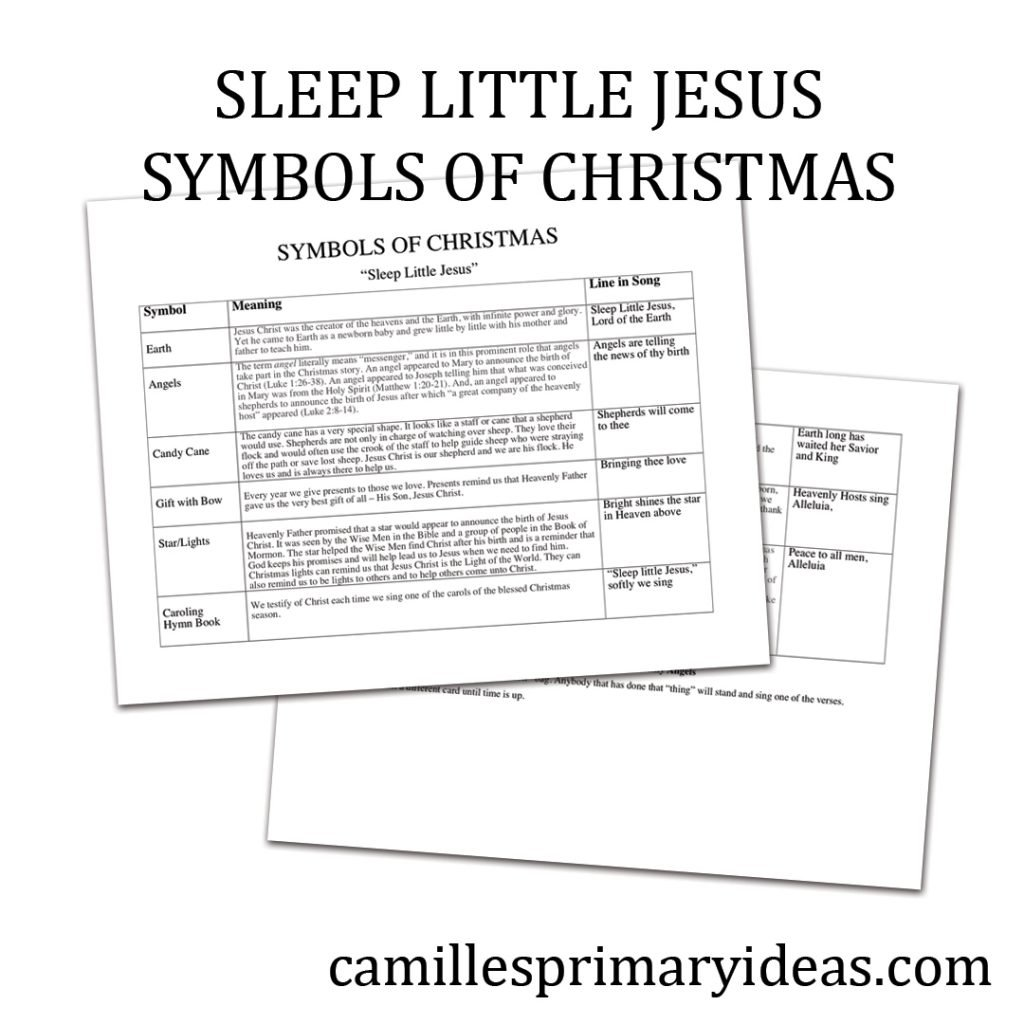 Camille's Primary Ideas: Sleep Little Jesus Symbols of Christmas singing time lesson plan activity