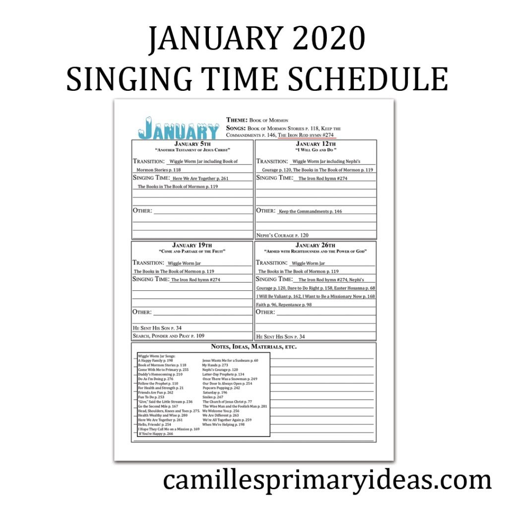 January 2020 Singing Time Schedule for primary music leaders