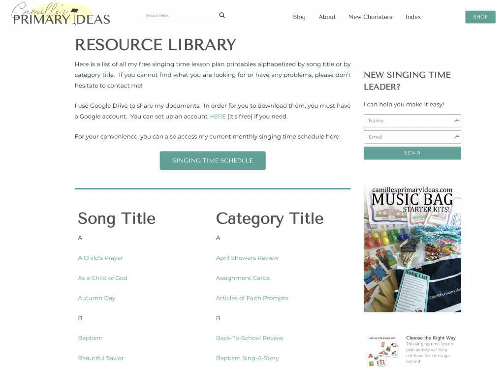 Camille's Primary Ideas: Email Tutorial for accessing my Resource Library and Singing Time Schedule