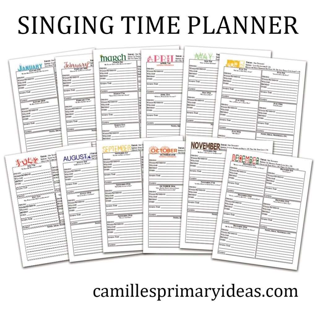 Camille's Primary Ideas: singing time planner