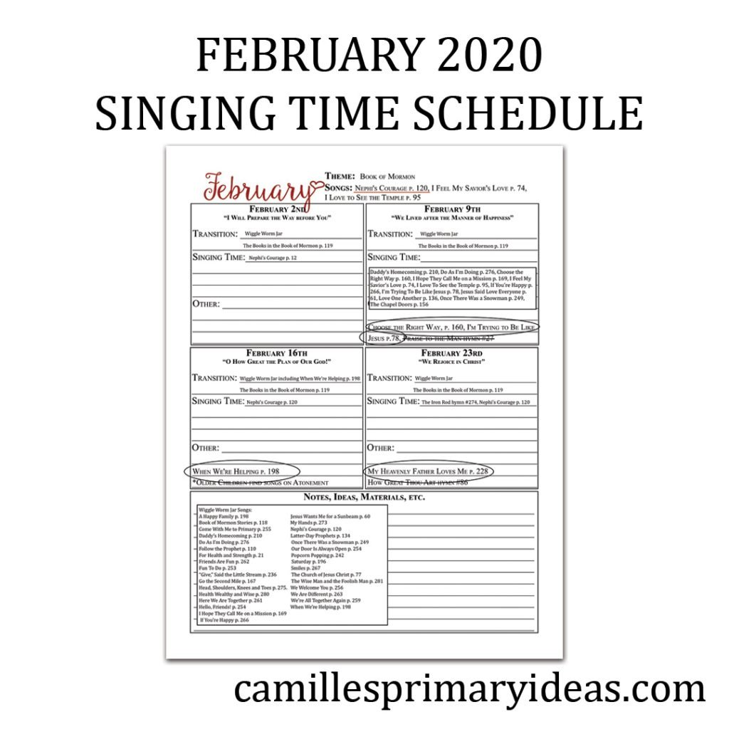 Camille's Primary Ideas: February 2020 Singing Time Schedule