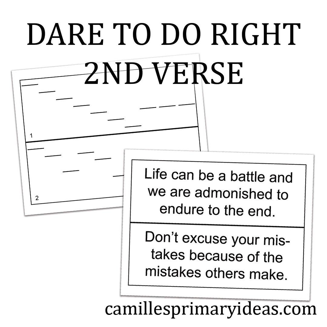 Camille's Primary Ideas: Dare to Do Right second verse