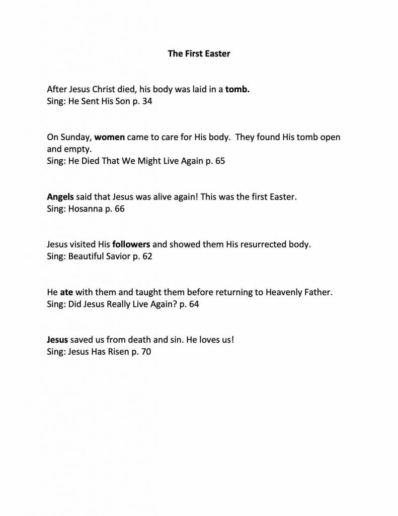 Camille's Primary Ideas: The First Easter singing time from the Friend