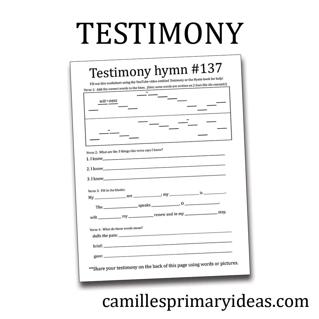 Camille's Primary Ideas: Testimony hymn singing time idea