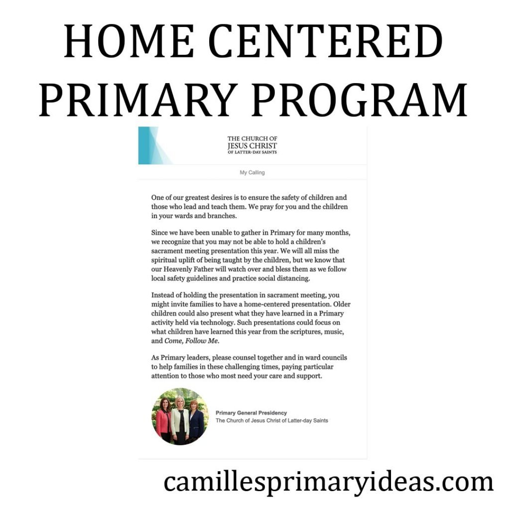 Camille's Primary Ideas: Home Centered Primary Program