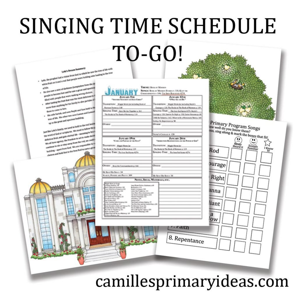 Camille's Primary Ideas: Singing Time Schedule To Go