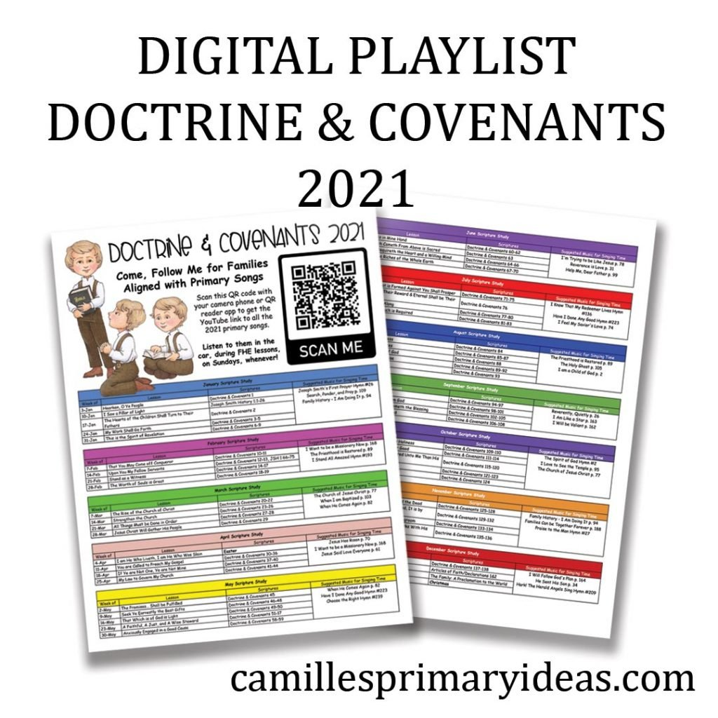 Camille's Primary Ideas: Digital Playlist Doctrine & Covenants 2021 for Singing Time