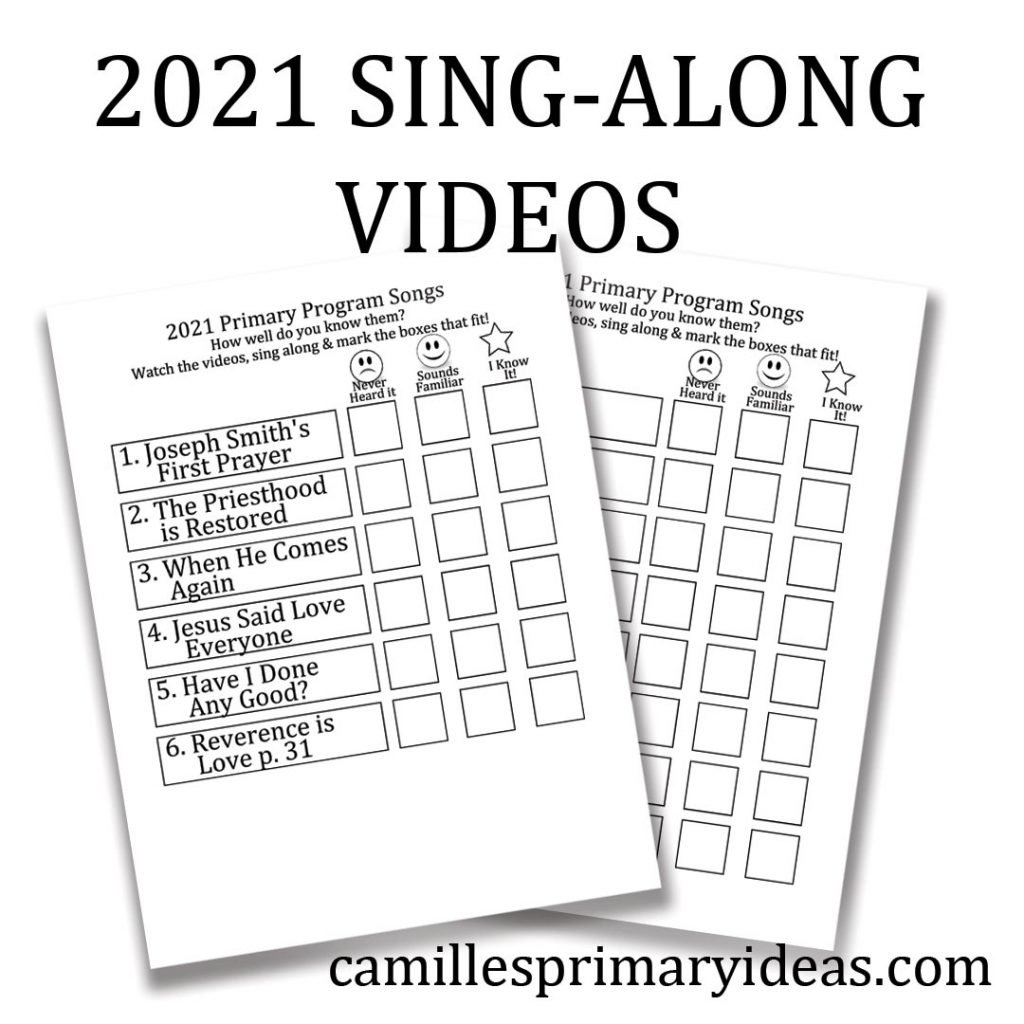 Camille's Primary Ideas: 2021 Sing Along Videos for Singing Time Lesson Plan Idea