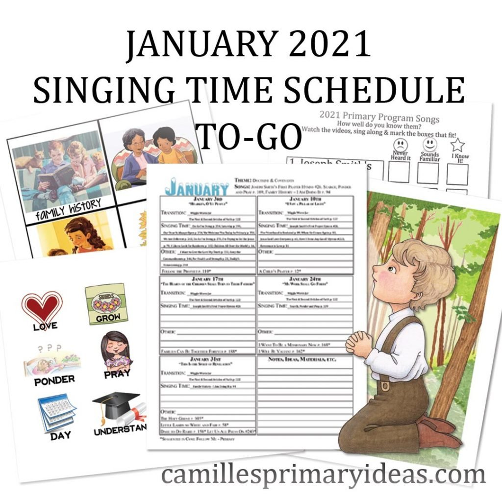 Camille's Primary Ideas January 2021 Singing Time Schedule To-Go