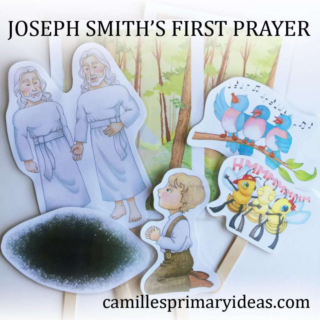 Camille's Primary Ideas: Joseph Smith's First Prayer Singing Time Idea using stick puppets