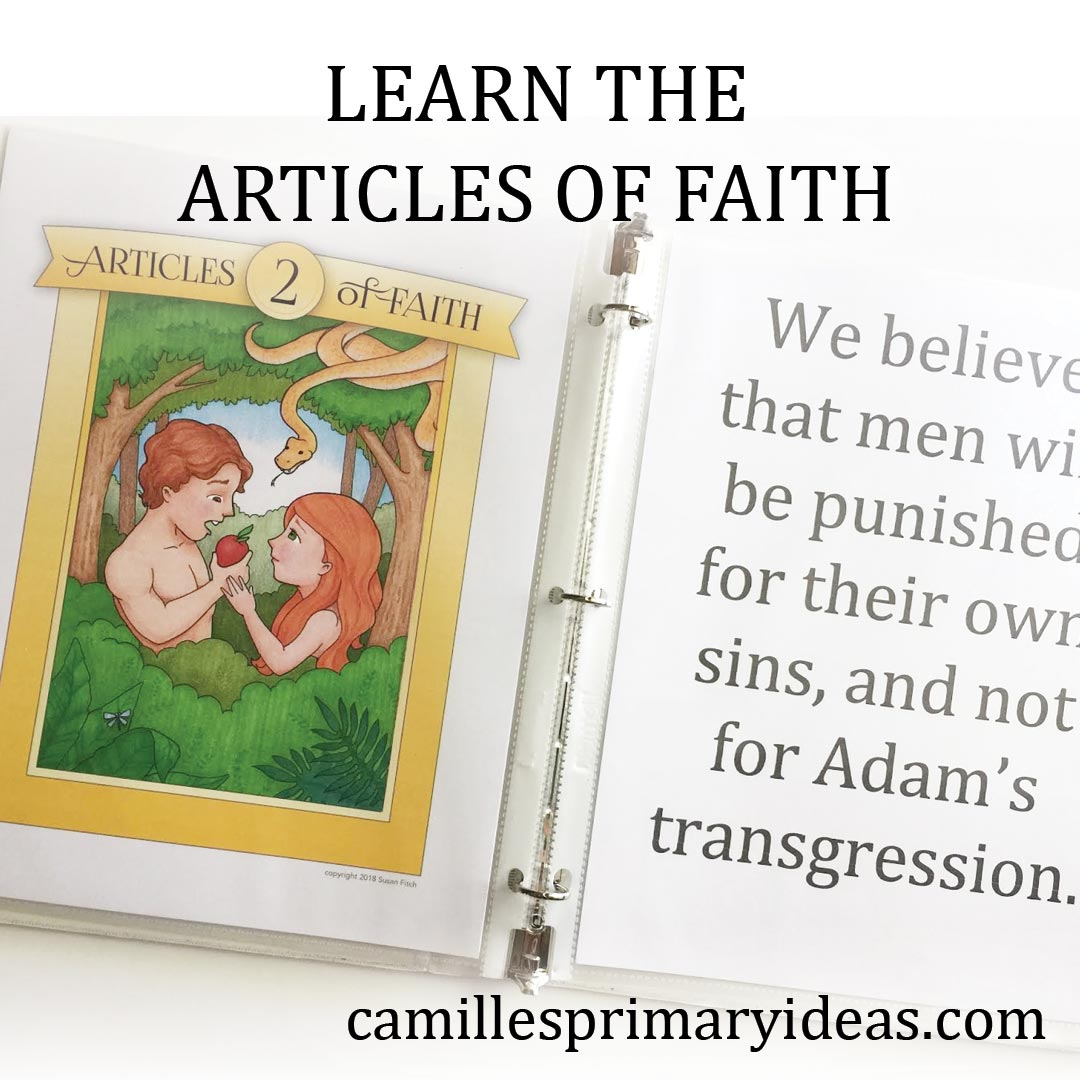 Camille's Primary Ideas: Learn the Articles of Faith Songs