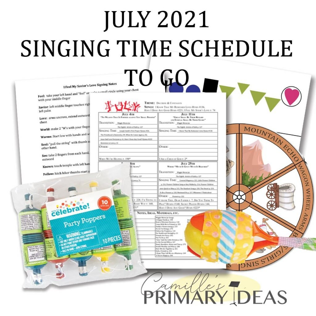 Camille's Primary Ideas: July Singing Time Schedule Print & Go