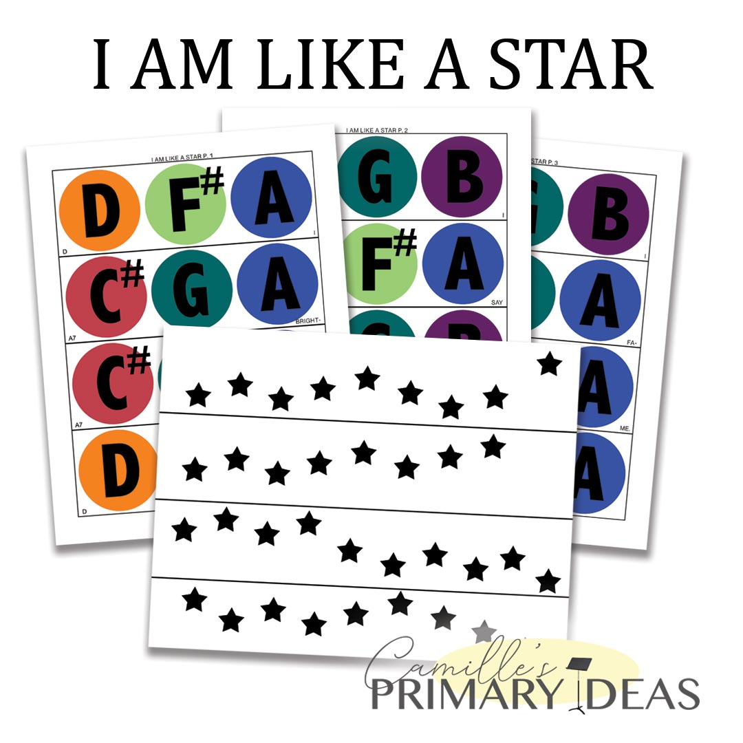 Camille's Primary Ideas: I Am like a Star singing time idea using handbells and melody map