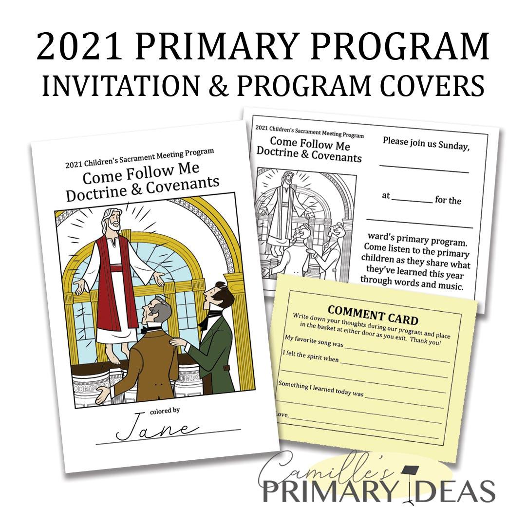 Camille's Primary Ideas: 2021 Primary Program Invitation & Program Covers