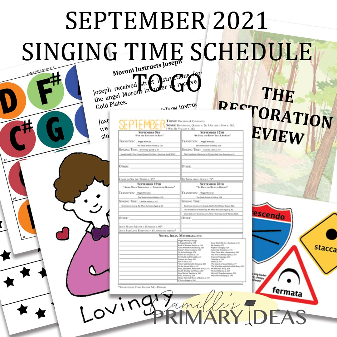 Camille's Primary Ideas: September Singing Time Schedule Print & Go