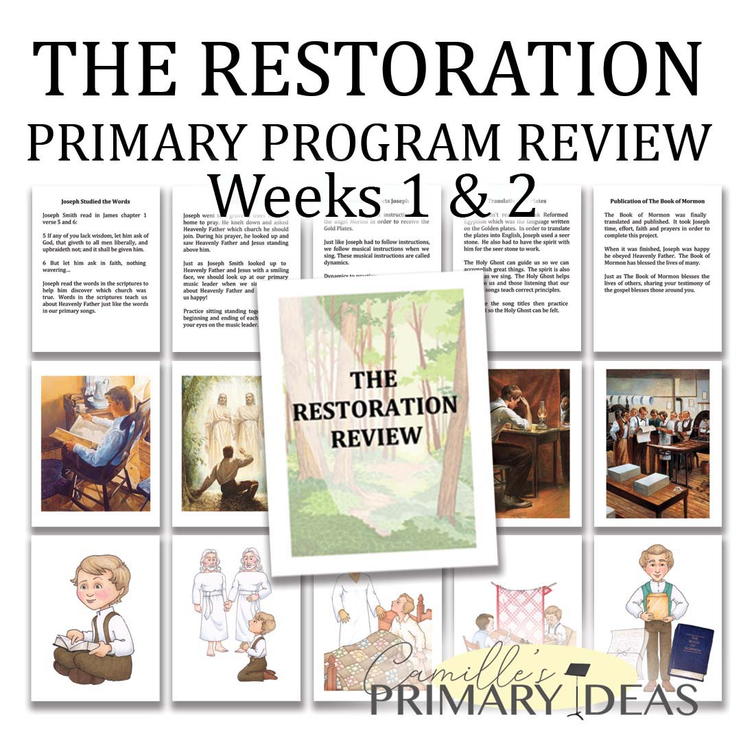 Camille's Primary Ideas: The Restoration Review Weeks 1 & 2