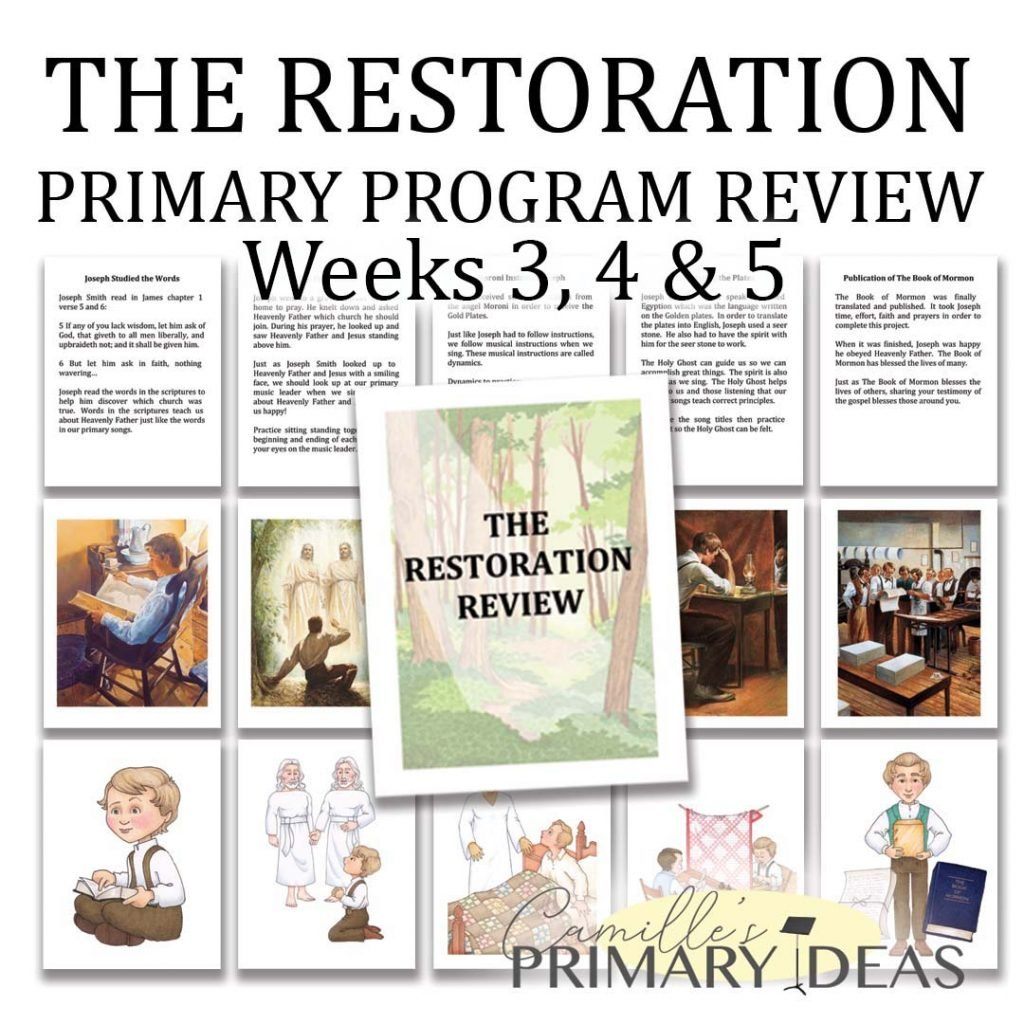 Camille's Primary Ideas: The Restoration Review Weeks 3, 4 & 5